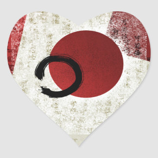 Zen Ensō Kreis mit Kanji-Potenzial 1 Herz-Aufkleber