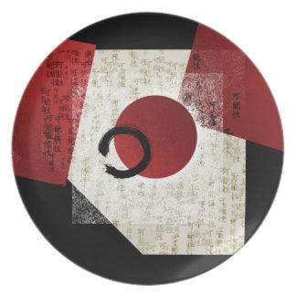 Zen Ensō Kreis mit Kanji-Potenzial 1 Melaminteller