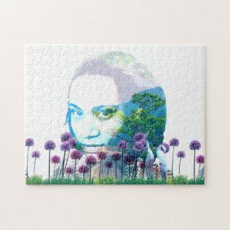 Zen-Garten-Frauen-Asiats-Bonsais + Lila Lauch Puzzle
