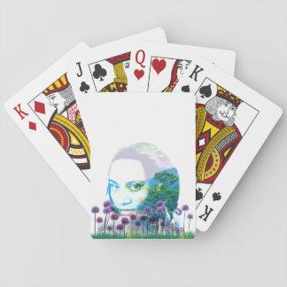 Zen-Garten-Frauen-Asiats-Bonsais + Lila Lauch Spielkarten