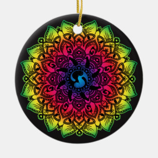 Zen-Hennastrauch-Mandala-Hippie-Katze Keramik Ornament