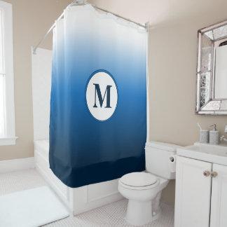 Zen minimales weißes blaues Ombre Duschvorhang