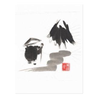 Zen-Mönch und Berg der Erleuchtung Postkarte