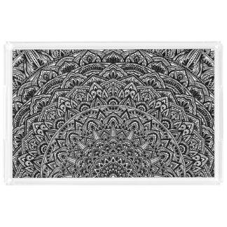 Zen-Schwarzweiss-Mandala Acryl Tablett