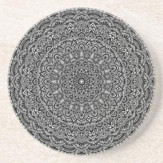 Zen-Schwarzweiss-Mandala Getränkeuntersetzer
