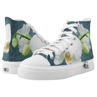 Zen-weißer Orchideen-Entwurf Hoch-geschnittene Sneaker