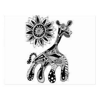 Zentangle Giraffe Postkarten