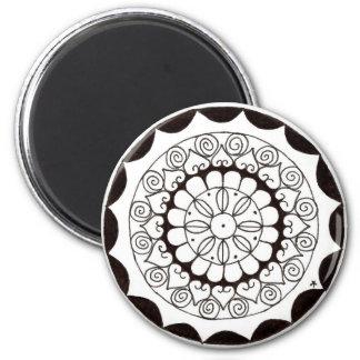 zentnagle Mandala - Herz-Blume Runder Magnet 5,1 Cm