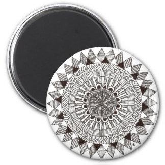 zentnagle Mandala - Linien II Runder Magnet 5,7 Cm