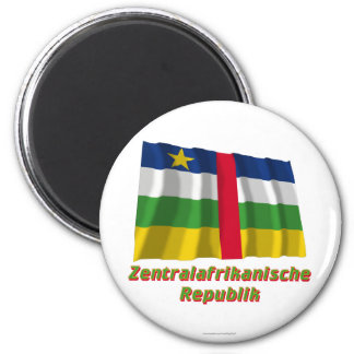 Zentralafrikanische Republik Flagge MIT Namen Runder Magnet 5,7 Cm