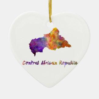 Zentrale African Republic im Watercolor Keramik Herz-Ornament