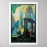Zentrale Linien Chicago ~ New York Plakatdruck
