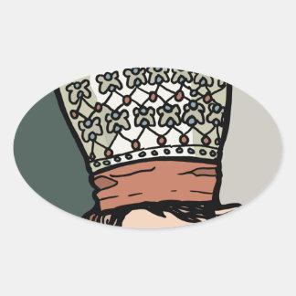 Zentrales asiatisches Frauen-Denken (im Hut) Ovaler Aufkleber