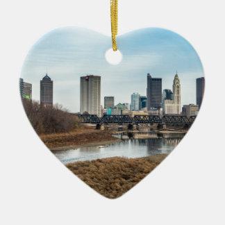 Zentrales Geschäftsgebiet Columbus, Ohio Keramik Herz-Ornament