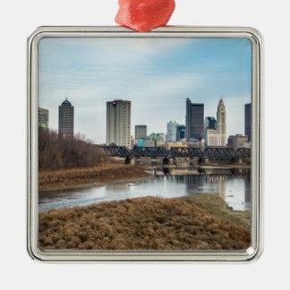 Zentrales Geschäftsgebiet Columbus, Ohio Quadratisches Silberfarbenes Ornament