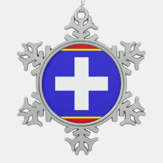 zentrales Griechenland-Flaggenland-Regionssymbol Schneeflocken Zinn-Ornament