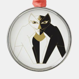 Zentrierte Katze Rundes Silberfarbenes Ornament