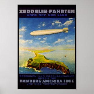 Zeppelin löst ~ über Meer und Land aus Poster
