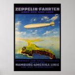 Zeppelin löst ~ über Meer und Land aus Posterdruck