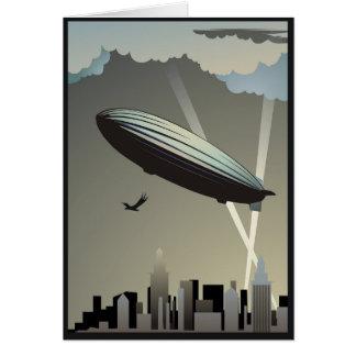 Zeppelin-Skyline-Gruß-Karte Karte