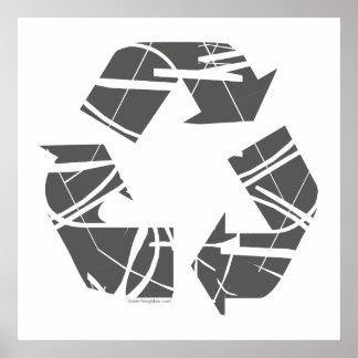 Zerbrochenes Grau recyceln Zeichen Poster
