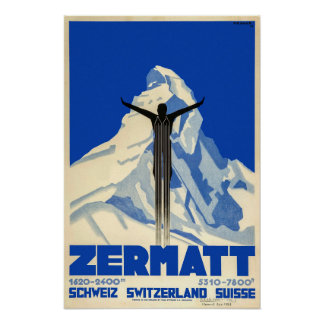 Zermatt, die Schweiz, Ski-Plakat Poster