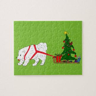 Zerren Sie den Samoyed, der Weihnachtsbaum zieht Puzzle