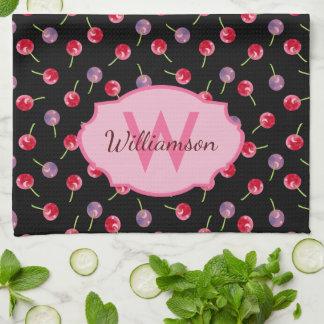 Zerstreute Watercolor-Kirschen mit Monogramm Handtuch