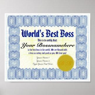Zertifikat-Druck oss das B der Welt bester Poster