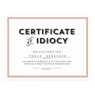 Zertifikat von postkarte