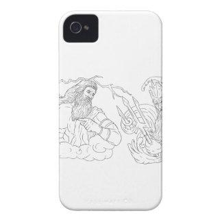 Zeus gegen Poseidon Schwarzweiss-zeichnen iPhone 4 Case-Mate Hüllen
