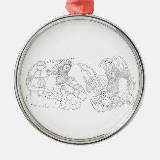 Zeus gegen Poseidon Schwarzweiss-zeichnen Silbernes Ornament