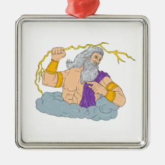 Zeusausübendes Thunderbolt-Blitz-Zeichnen Quadratisches Silberfarbenes Ornament