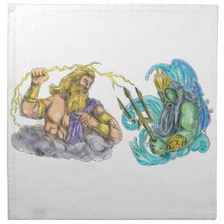 ZeusThunderbolt gegen Poseidon Trident Tätowierung Stoffserviette