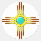 Zia Sonne - Zia Pueblo - Kraft Symbol Runder Aufkleber