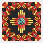 Zia Sonne - Zia Pueblo - New Mexico Quadratischer Aufkleber