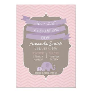 Zickzack Baby-Mädchen-Baby-Duschen-Einladung 12,7 X 17,8 Cm Einladungskarte