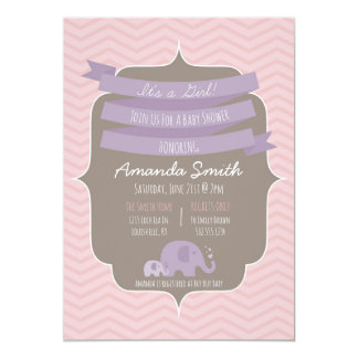 Zickzack Baby-Mädchen-Baby-Duschen-Einladung Karte