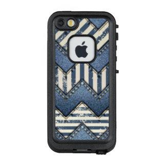 Zickzack blauer Jean-Muster-Druck-Entwurf LifeProof FRÄ' iPhone SE/5/5s Hülle