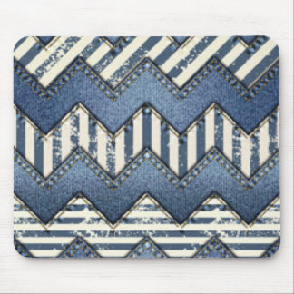 Zickzack blauer Jean-Muster-Druck-Entwurf Mousepad