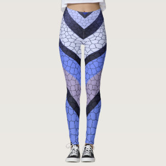 Zickzack blaues Mosaik Leggings