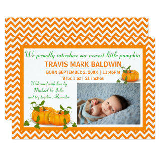Zickzack Foto-Kürbis - Geburts-Mitteilung 12,7 X 17,8 Cm Einladungskarte