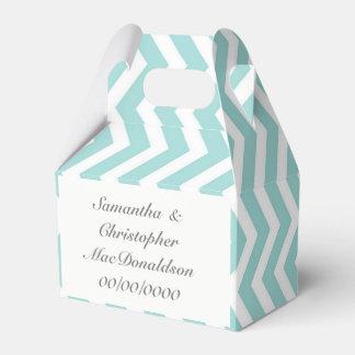 Zickzack Hochzeit des blassen Aquamarinestreifens Geschenkschachtel