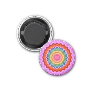 Zickzack-Kaleidoskop-Fraktal-Mehrfarbenmagnet Runder Magnet 3,2 Cm