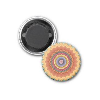 Zickzack-Kaleidoskop-Land färbt Magneten Runder Magnet 3,2 Cm