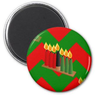 Zickzack Kwanzaa Runder Magnet 5,7 Cm