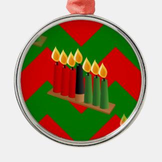 Zickzack Kwanzaa Rundes Silberfarbenes Ornament