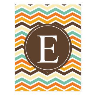 Zickzack Monogramm-Brown-Orangen-Türkis Postkarte