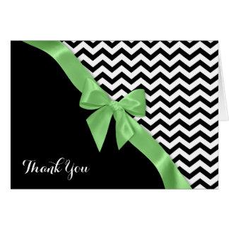 Zickzack-Muster und grünes Band danken Ihnen zu Karte