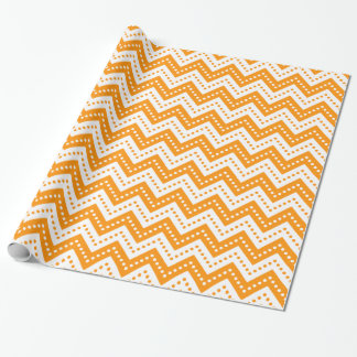Zickzack Orange der Polka-Punkt-7 Geschenkpapier